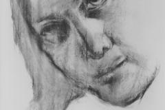 Study - head, 84.1x118.9cm, coal on paper
