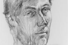 Studie - Kopf, 84.1x118.9cm, Kohle auf Papier