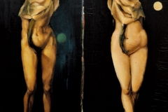 Adam and Eve, 2000, 150x150cm, oil on nettle
